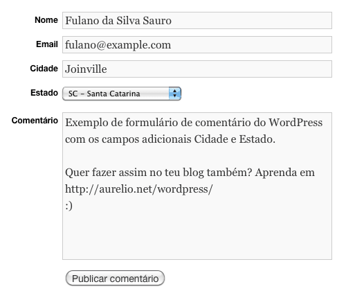 Formulário WordPress com campos para Cidade e Estado