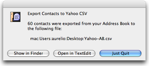 Export Contacts to Yahoo CSV - Convert your Address Book contacts to