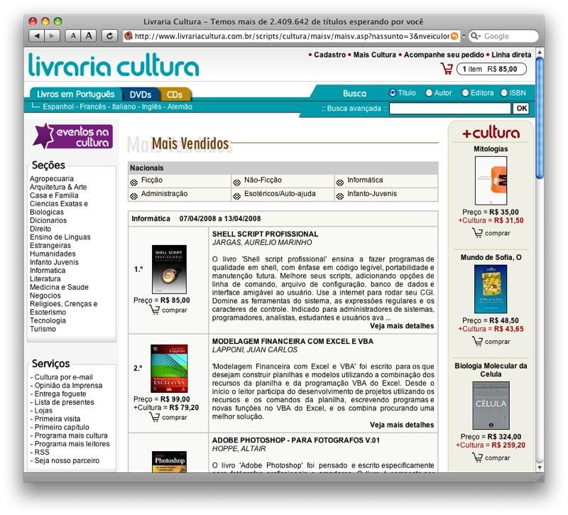Shell é o +vendido na Livraria Cultura