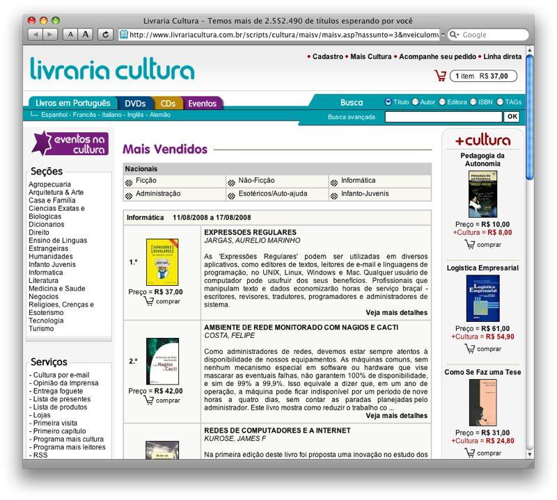 Piazinho é o +vendido da Livraria Cultura