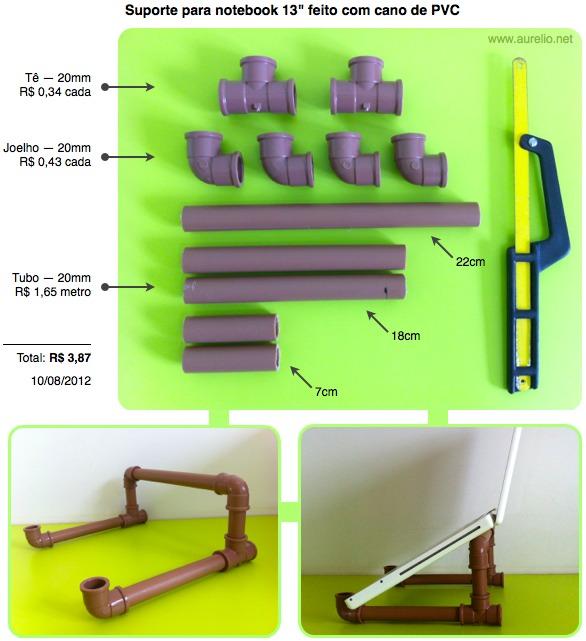 Pvc passo a passo suporte para notebook e ipad 13 feito - Medidas tubos pvc ...